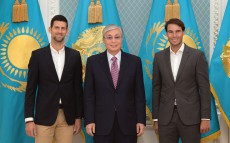 Kassym-Jomart Tokayev met with world tennis stars Rafael Nadal and Novak Djokovic